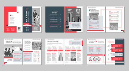 Brochure creative design. Multipurpose template with cover, back and inside pages. Trendy minimalist flat geometric design. Vertical a4 format. Fototapete