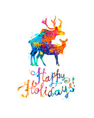 Happy Holidays congratulation card with mating deers. Splash paint
