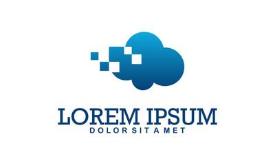 pixel cloud logo design template. data server cloud logo vector icon
