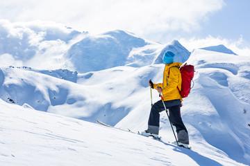 Wall Mural - Skitouring, Chamonix, Alps.