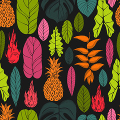 Hand drawn tropical plants. Leaves and fruits.Vector seamless pattern