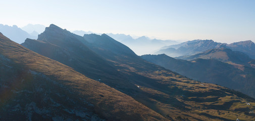 View of many mountain ranges lying one behind the other