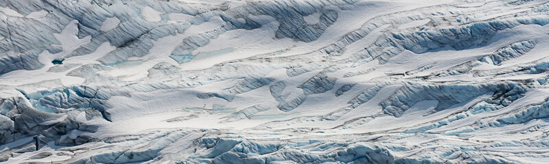 aerial ice detail of the Tunsbergdalsbreen glaciar, Norway's longest glacier arm of the Folgefonna ice cap
