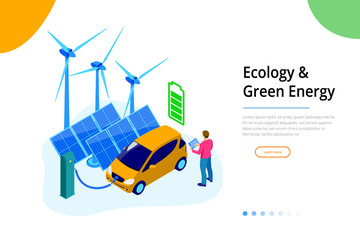 Isometric Ecology and green Energy concept for website and mobile website. Landing page template.