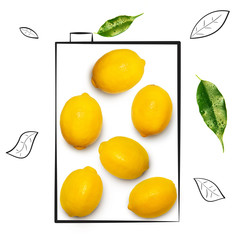 Fruit composition with fresh lemon and cartoon cute doodle drawing elements on isolated white background. Creative minimalistic food concept.