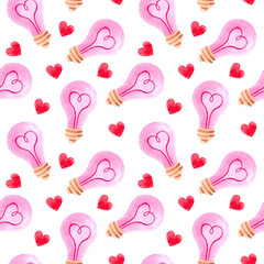 seamless watercolor pattern for Valentine's day with lamp and hearts. ideal for packaging paper, fabric, backgrounds, Wallpaper