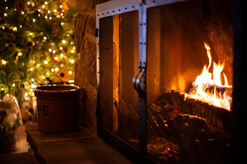 Fireplace and Christmas tree at night