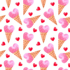seamless watercolor pattern for Valentine's day with ice creams. ideal for packaging paper, fabric, backgrounds, Wallpaper