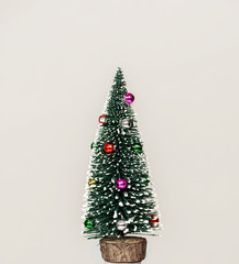Small and lovely decorated Christmas tree on white background