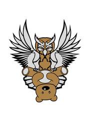teddy bär grizzly klauen fangen fressen süß niedlich farbig kontur eule tattoo uhu fliegen vogel cool design federn raubvogel nacht schön clipart logo