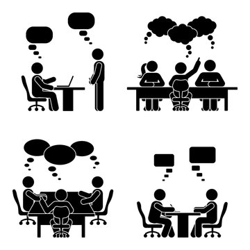 Stick figure speech bubble meeting set. Group of people talking in conference room