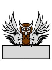 schild text schreiben name farbig kontur eule tattoo uhu fliegen vogel cool design federn raubvogel nacht schön clipart logo