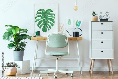 Stylish Scandinavian Home Office Desk With Mock Up Poster Frames A