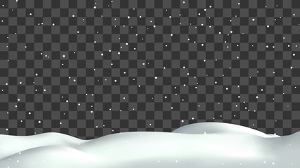 Realistic snow hills landscape. Vector snowdrift with falling snowflakes illustration. Winter background.