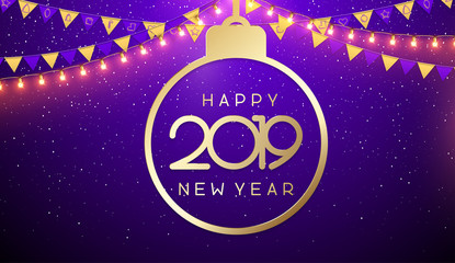 Happy New Year 2019 poster with golden abstract Christmas ball and flags.