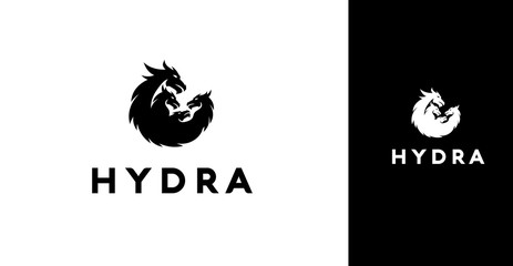 Modern Black Silhouette Of 4 Hydra Dragons Icon