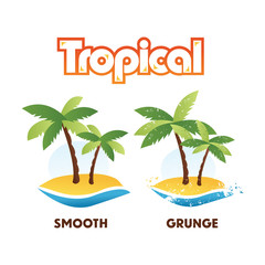 Tropical Palm Tree Island Isolated in Smooth or Grunge Style