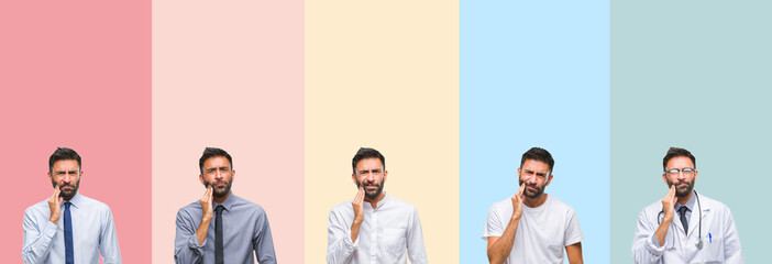 Collage of handsome man over colorful stripes isolated background touching mouth with hand with painful expression because of toothache or dental illness on teeth. Dentist concept.