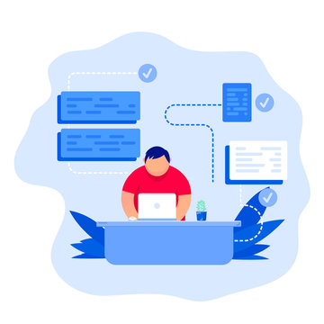 Software development and programming. Flat vector illustration of young programmer coding on the laptop
