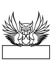rahmen schild text schreiben name farbig kontur eule tattoo uhu fliegen vogel cool design federn raubvogel nacht schön clipart logo