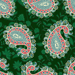 Foto op Aluminium Botanisch Vector seamless oriental pattern. Paisley and flowers. Colorful design for textile, fabric, invitation, web, cover, wrapping paper