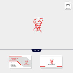 chef logo template illustration, free business card design template include