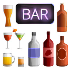 set of cartoon bar and alcohol icons, vector illustration
