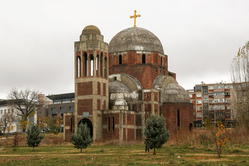 Unfinished Serbian Orthodox Temple of Saint Saviour. Pristina, Kosovo