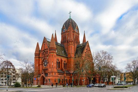 Evangelische Kirchengemeinde, Beautiful church with red stone facade in Kreuzberg, Berlin, Germany in winter season.