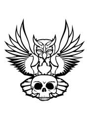 horror tot schädel totenkopf skelett halloween farbig kontur eule tattoo uhu fliegen vogel cool design federn raubvogel nacht schön clipart logo