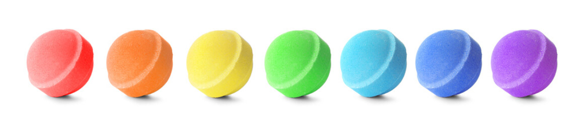 Set with aromatic bath bombs on white background
