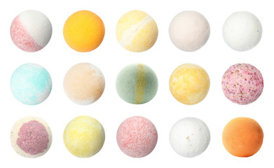 Wall Mural - Set with aromatic bath bombs on white background