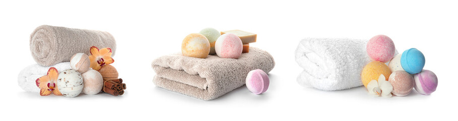 Wall Mural - Set with aromatic bath bombs and accessories on white background
