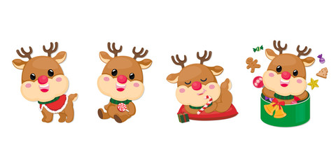 Set of Reindeer character on white background. Collection of Christmas Reindeer.