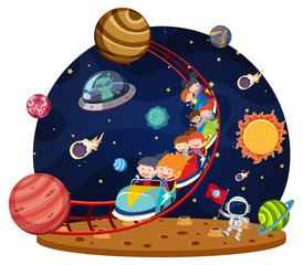 Children riding space roller coaster