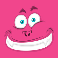Happy pink monster face