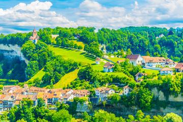 Valley of river Sarine in Fribourg, Switzerland
