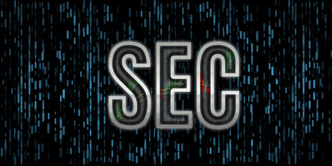 Security Exchange Committee text illustration. SEC letter metallic edge with stock numbers inside reflect glass cover with blue rectangle background. For cryptocurrency, stock market, capital control