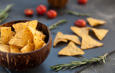 crispy corn chips. potato chips, nachos
