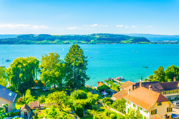 Aerial view of Murten lake in Switzerland