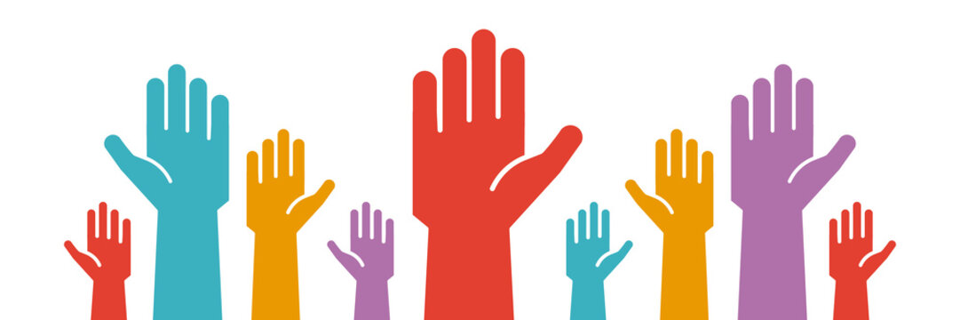 Raised colorful hands volunteering to help a good cause. Vector trendy flat icon for volunteer, charity, donation and contribution concepts