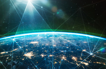 Network connected across planet Earth ,  view from space. Concept of smart wireless communication technology . Some elements of this image furnished by NASA