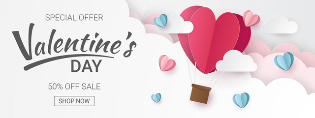 Valentines day sale background with Heart Balloons and clouds. Paper cut style. Can be used for Wallpaper, flyers, invitation, posters, brochure, banners. Vector illustration. Wall mural