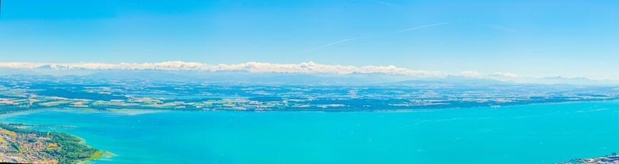 Aerial view of neuchatel lake in Switzerland