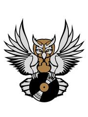 dj vinyl platte auflegen musik party feiern spaß disko club farbig kontur eule tattoo uhu fliegen vogel cool design federn raubvogel nacht schön clipart logo