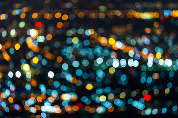 Colorful light Abstract circular bokeh of the city at night background.