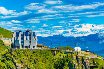 Building designed by Mario Botta on top of Monte Generoso, Switzerland