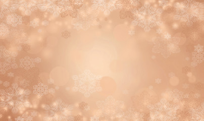 Holiday background with snowflakes. Bronze colored Christmas themed illustration with copy space