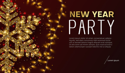 New Year party poster or invitation with golden shiny snowflake and lights.