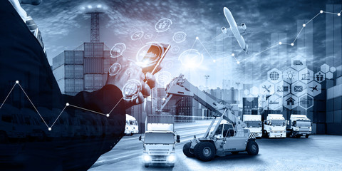 Abstract image of business man point to the hologram on smartphone and Industrial Container Cargo freight ship, forklift handling container box loading for logistic import export and transport Wall mural